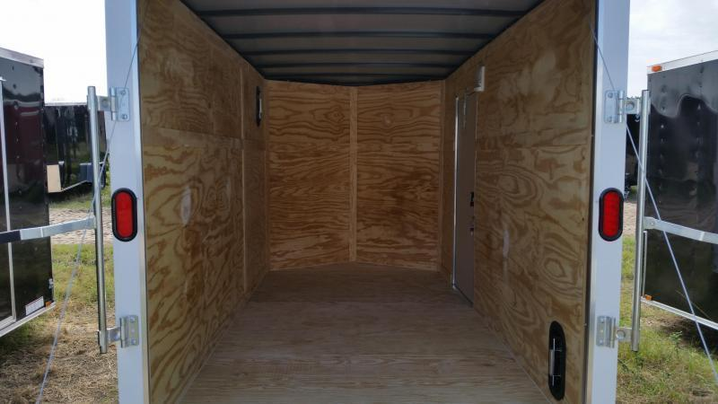 New 6x12 WHITE Single Axle Enclosed Cargo Trailer