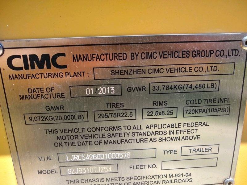 2013 CIMC 53' Container Trailer
