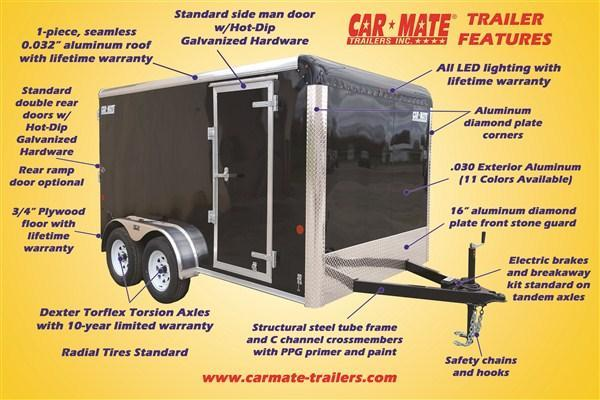 "Car Mate 7 x 16 Custom Enclosed Trailer w/ 6"" Extra Height"