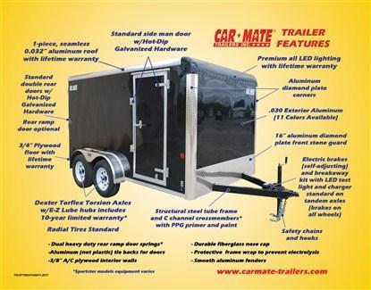 Car Mate Sportster 6 x 12 Single Axle Enclosed Cargo Trailer