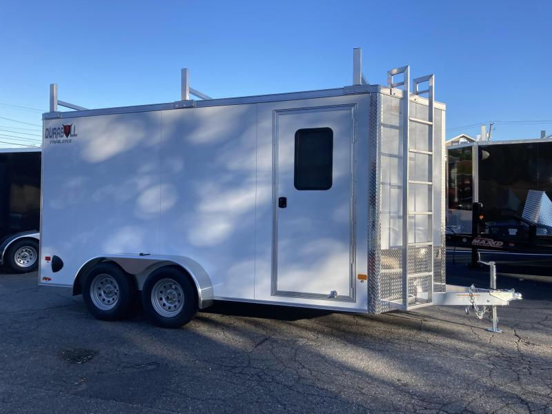 DuraBull 7 x 14 + 2' V Aluminum Contractor Trailer w/ Barn Doors