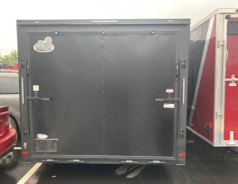 Covered Wagon 8.5 x 24 + 2' V Enclosed Car Hauler Black Out 10K