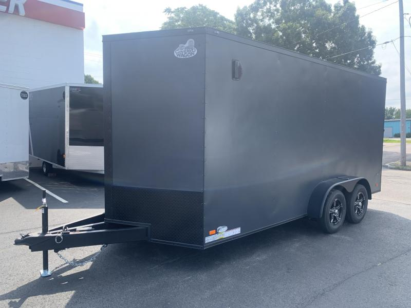 Covered Wagon 7 x 16 + 2' V Enclosed Cargo Trailer 7' Interior Height Black Out Package