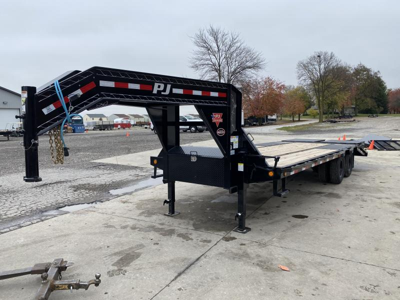 2021 PJ Trailers 25' Low-Pro Flatdeck with Duals Trailer - 102x25 (20+5) TA - Dovetail - Flip Over Monster Ramps - Toolbox (GVW:  25000)