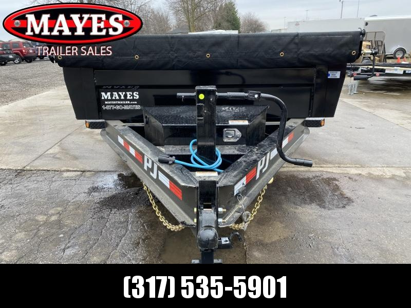 2021 PJ Trailers DL142 Dump Trailer - 83X14 TA Low Pro Dump - 6 Inch Cylinder Upgrade - Split/Spread Gate - Tarp Kit (GVW:  14000)