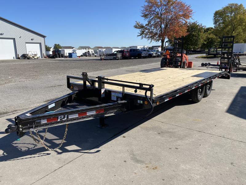 2021 PJ Trailers F8202 Equipment Trailer - 96x20 (17+3) TA - Dovetail - 8 Inch I-Beam Deckover - Fold Up Ramps (GVW:  14000)
