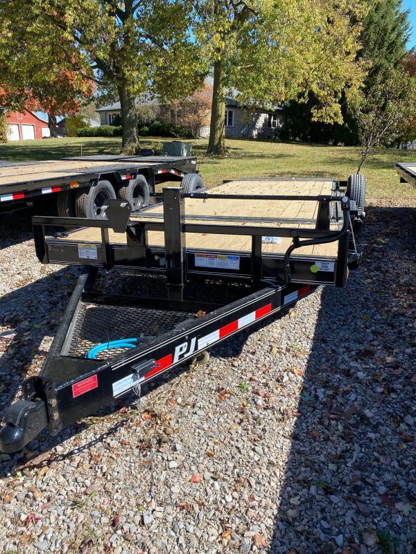 2021 PJ Trailers T6202 Equipment Trailer - 76x20 (4+16) TA - Torsion Axles - Stake Pockets & Rub Rail - Tool Tray in Tongue - 3 Inch x 6 Inch Cylinder (GVW:  14000)