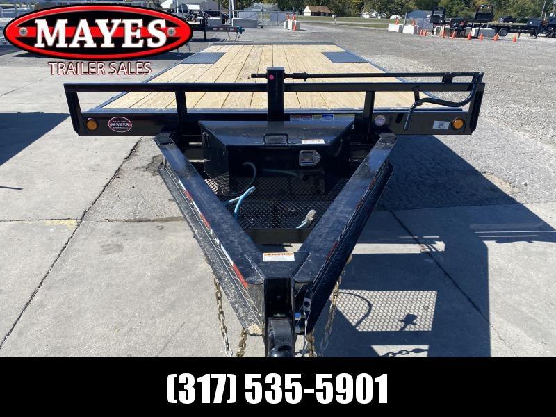2021 PJ Trailers T8222 Equipment Trailer - 96x22 TA - Full Deck  Deckover Tilt -  Spring Suspension - Tool Tray - Tool Box (GVW:  14000)