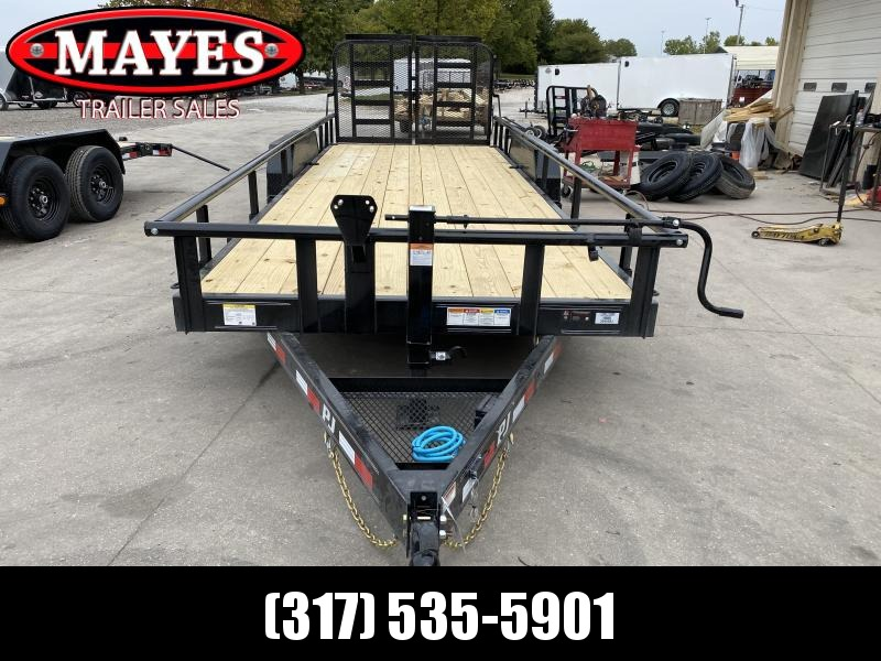 2021 PJ Trailers CC222 Equipment Trailer - 83x22(20+2) TA - Dovetail - Split Heavy Duty Gate - Spare Tire (GVW:  14000)