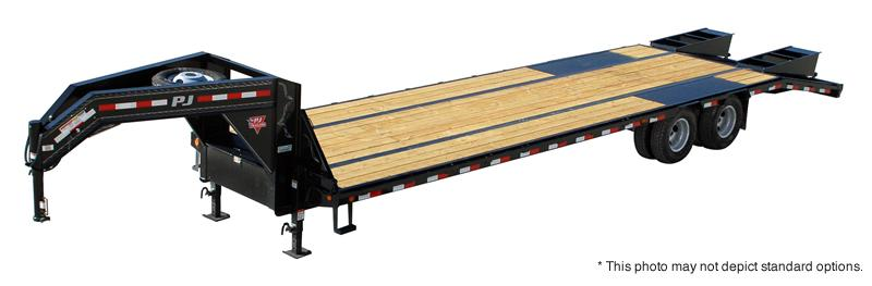 "2020 102""x32' (27+5) TA Low Pro Flatdeck Gooseneck  PJ Trailers 32' Low-Pro Flatdeck with Duals Trailer - Dovetail - Tool Box - Flip Over Monster Ramps (GVW:  25000)"