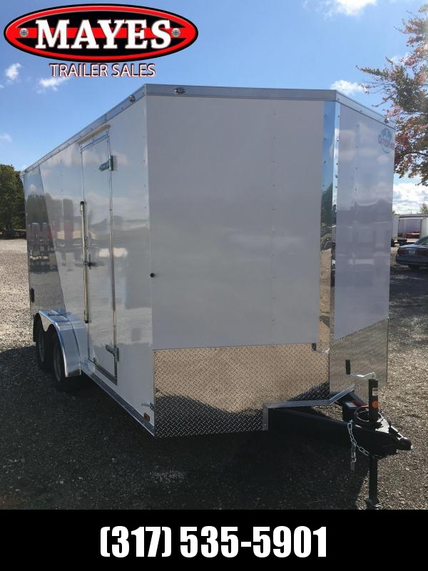 2021 Cargo Mate EHW716TA2 Enclosed Cargo Trailer - 7.5x16  TA - Two/Tone - Side by Side Package - 12 Inch Additional Height - Ramp Door - 7.5 Wide Body Design Upgrade - Rear Wing (GVW:  7000)