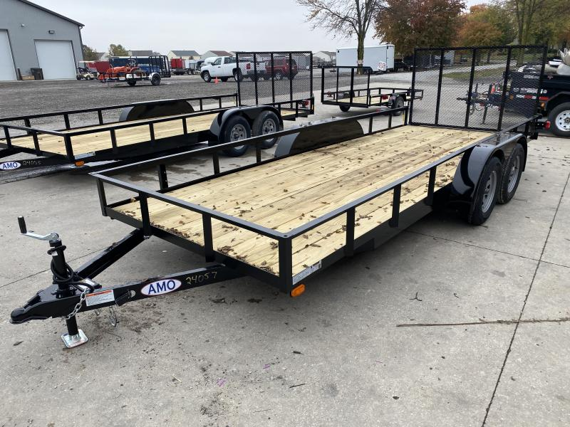 2021 American Manufacturing Operations (AMO) UT182 Utility Trailer - 76x18 TAUT - Tailgate - Electric Brakes - Wrapped Tongue - 7 Way Plug (GVW:  7000)