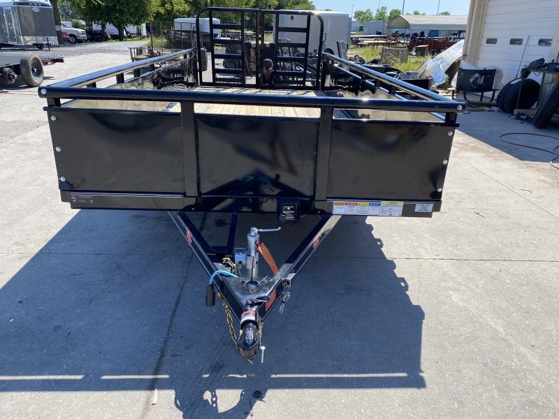 "2021 83x18(16+2' Dovetail) PJ Trailers UL Tndm Axle Channel Utility Trailer - w/ Split HD Gate (GVW: 9990)(22"" Solid Metal Sides w/ 2"" Pipe-top)"