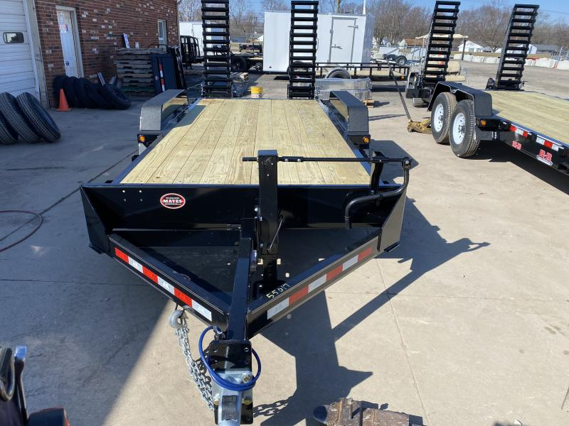 2021 B-B CBCT1816E-S Equipment Trailer - 83x18 (16+2)  TA - 10 Inch Channel Frame - Dovetail - D-Rings - Pallet Fork Holder - 5 Foot Spring Assist Flip Up Ramps (GVW:  16000)