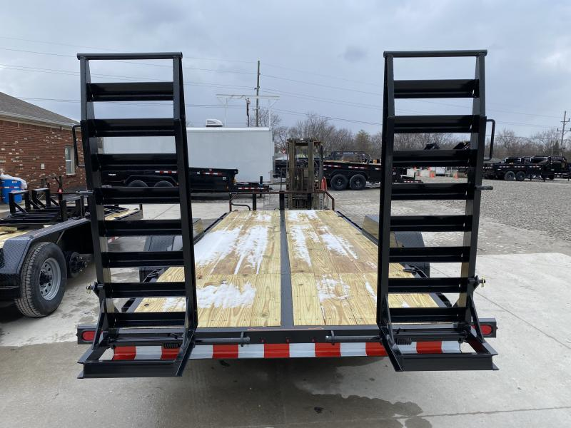 2020 20 Foot (17+3) TA Hank HM-P7K20SKID Equipment Trailer - 7 Inch Channel Main Frame - Spring Assist HD Stand Up Ramps - COMMERCIAL MODEL (GVW:  14000)