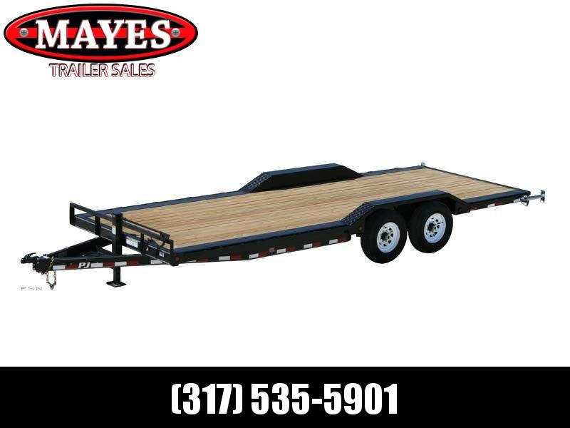 2021 PJ Trailers B6202 Equipment Trailer - 102X22 (20+2) TA - Dovetail - Treated Wood Floor - Rear Slide In Ramps (GVW:  14000)