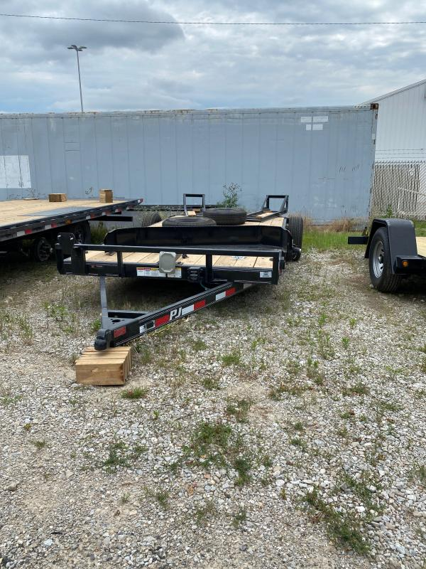 2022 PJ Trailers 1C212 (CE162) Equipment Trailer - 83X16 (14+2) TA - Dovetail - Fold Up Ramps - 5 Inch Channel Frame (GVW:  9899)