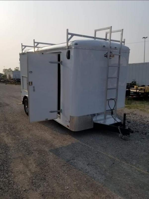 2022 Cargo Mate BL714TA3 Enclosed Cargo Trailer - 7x14 TA - Double Door - Alum. Roof - Ladder Racks - Stationary Ladder - 6 Inch Additional Height - Torsion Axles - Baggage Doors (GVW:  9800)