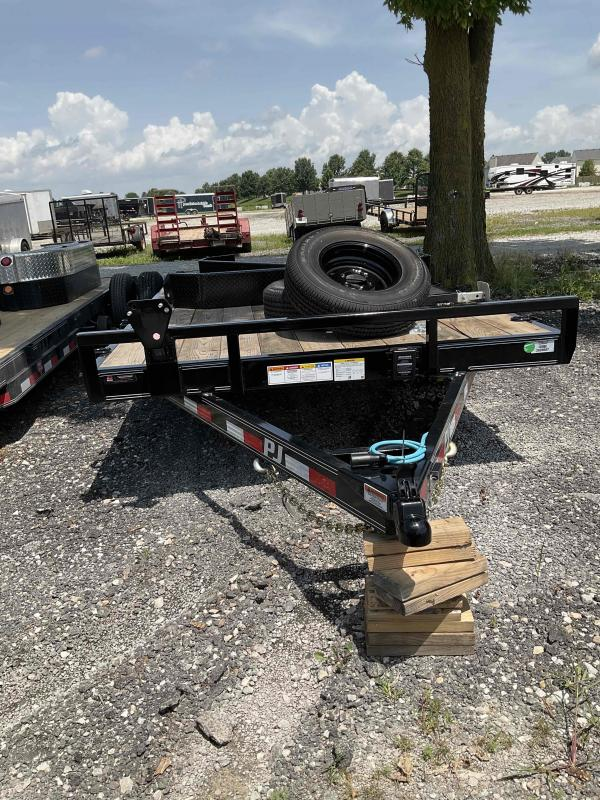 2022 PJ Trailers 1C272 (CC222) Equipment Trailer - 83X22 (20+2) TA - Dovetail - 6 Inch Channel - Spare Tire and Wheel - Fold Up Ramps - Tool Box (GVW: 14000)