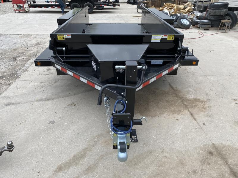 2020 B-B Trailer - Drop Down Trailer HD1414E - 2 Foot Metal Sides - Steel Floor - Power Up/Gravity Down - Tool Box - D-Rings (GVW:  14000)