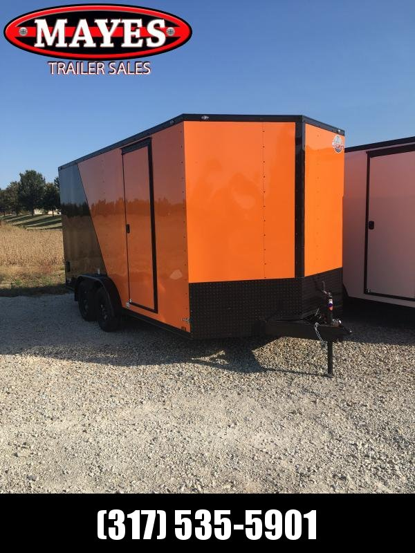 2021 Cargo Mate EHW716T2 Cargo Trailer - 7.5x16 TA - Two-Tone - Ramp Door - Side by Side Package - Black Out Package - 12 Inch Additional Height (GVW:  7000)