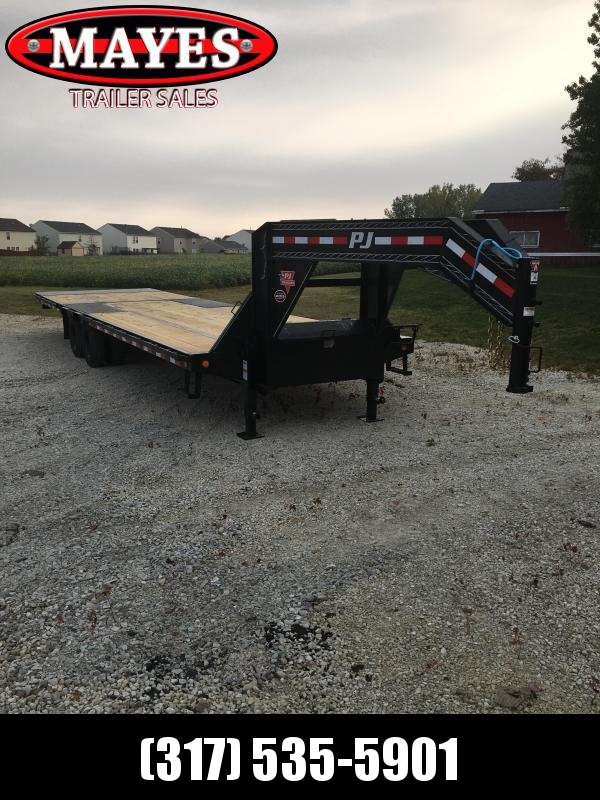2021 PJ Trailers LY322 Equipment Trailer - 102x32 (20+10) TA Low Pro Gooseneck - Hydraulic Dovetail - 2 5/16 Inch Round Gsnk Coupler - Toolbox - Elect. Brakes (GVW:  25000)