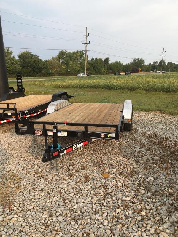 "2021 PJ Trailers 16'x5"" Channel Equipment Trailer - CE162 - 83x16 (14+2) TA - 5"" Channel - Rear Slide In Ramps (GVW:  9899)"