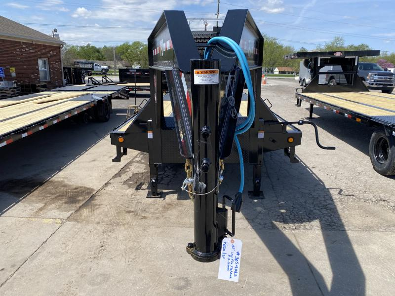 2021 PJ Trailers LD252 Equipment Trailer - 102x25 (20+5) TA Low Pro Gooseneck with Duals - Dovetail - 2 Flip Over Monster Ramps - Toolbox (GVW:  25000)