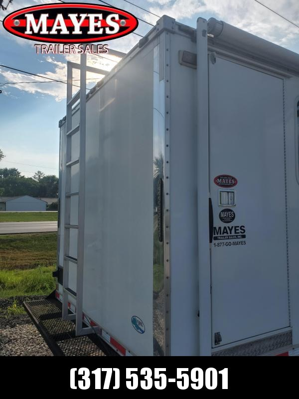 Used 2014 102x20 Cargo Mate CN8520TA3 Enclosed Cargo Office Trailer - 36 Inch Side Door with Flush Lock - (2) Work Stations - Stereo CD/DVD Player - Flat Panel TV - Hide-a-bed - 110V Lighting - Roof Mt. Air Conditioner - 50 AMP Service - Day/Nite Shades -