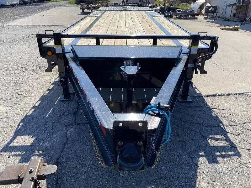 2021 PJ Trailers 25' Low-Pro Flatdeck with Singles Trailer - 102x25 (20+5) - Pintle Eye - Dovetail - Flip Over Monster Ramps (GVW:  15680)