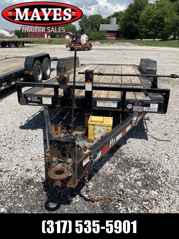 Used 2019 PJ Trailers TJ202 Equipment Trailer - 82x20 (4+16) TA Tilt - Treated Wood Floor - Torsion Axles (GVW:  14000)