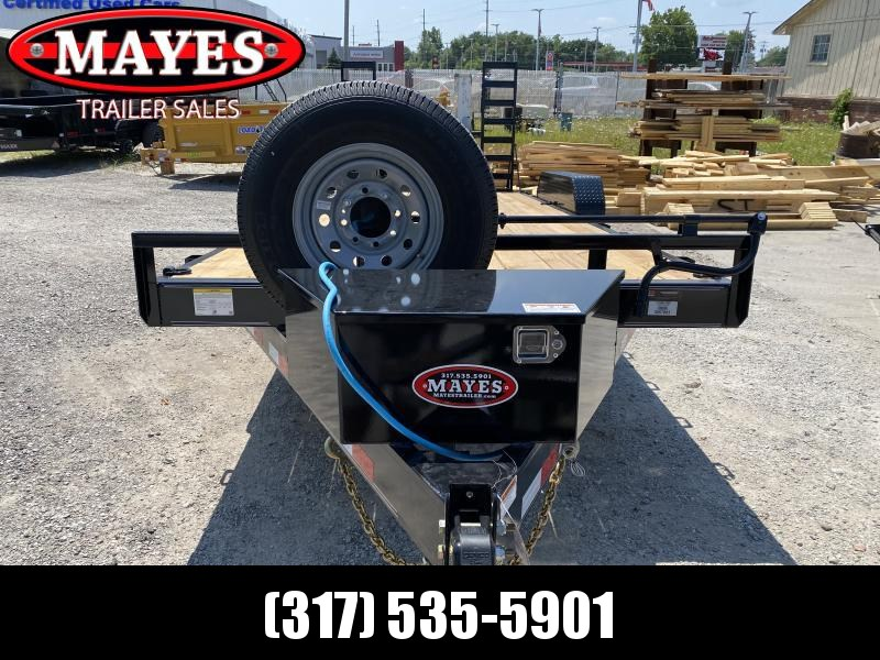 2022 PJ Trailers 1C202 (CC182) Equipment Trailer - 83X20 (18+2) TA - Dovetail - Fold Up Ramps - 6 Inch Channel - Tool Box - Spare Tire and Wheel (GVW:  14000)