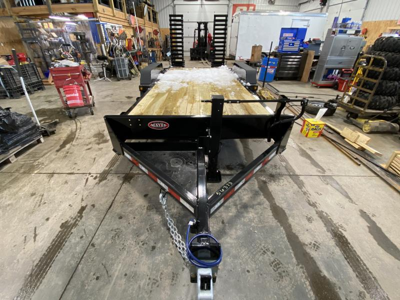 2021 B-B CBCT1814E-S Equipment Trailer - 83x18 (16+2) TA - 10 Inch Channel Frame - D-Rings - Pallet Fork Holders - Spring Assist Flip Up Ramps (GVW:  14000)