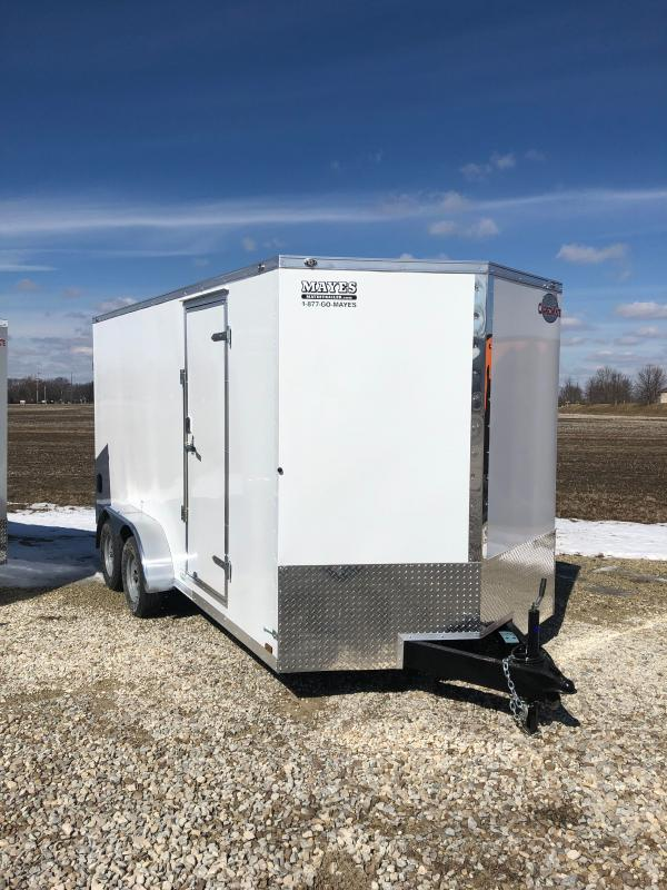 2021 Cargo Mate EHW716TA2 Enclosed Cargo Trailer - 7x16 TA - Side by Side Pkg. - 12 Inch Additional Height - Ramp Door - D-Rings (GVW:  7000)