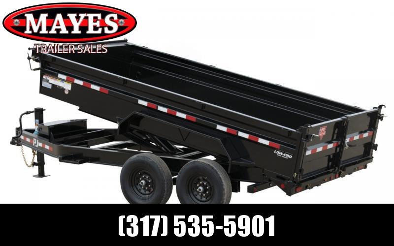 2021 PJ Trailers DL142 Dump Trailer - 83X14 TA Low Pro TA Dump - Tarp Kit - Ramps - Split/Spread Gate (GVW:  14000)