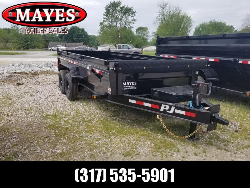 2022 PJ Trailers 1D212 Dump Trailer - 83X16 TA Low Pro Dump - Scissor Hoist - Tarp Kit - 8K Oil Bath Axles - Split/Spread Gate (GVW:  16000)