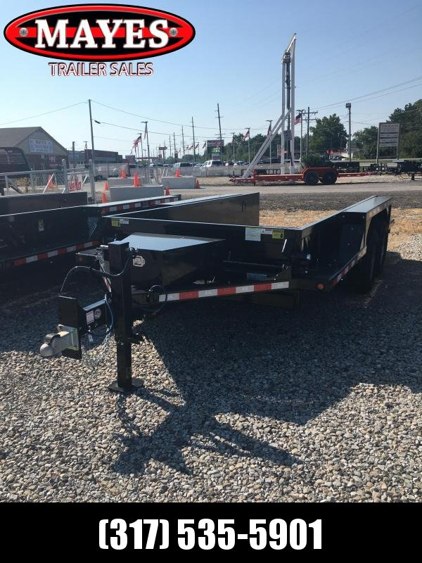 2020 76x14 B-B Trailer - Drop Down Trailer HD1414E - 2 Foot Metal Sides - Steel Floor - Power Up/Gravity Down - Tool Box - D-Rings (GVW:  14000)