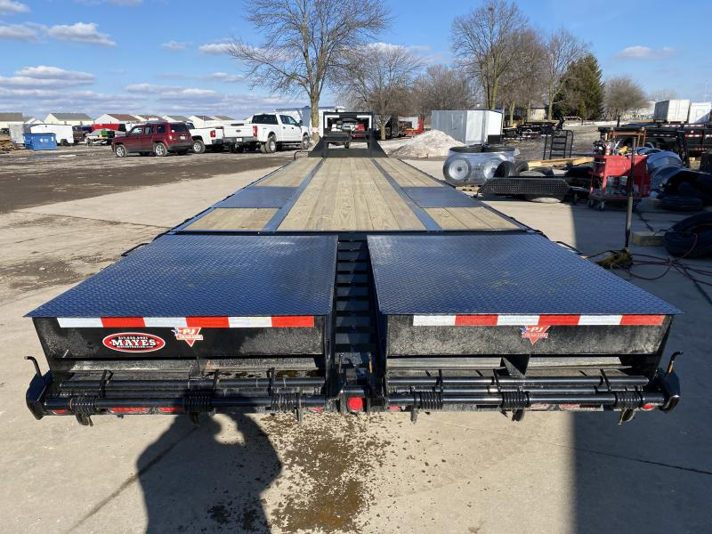 2021 PJ Trailers LD402 Equipment Trailer - 102x40 (35+5) TA Low Pro Gooseneck with Duals - Toolboxes - Winch - Dovetail - Flip Over Monster Ramps (GVW:  25000)