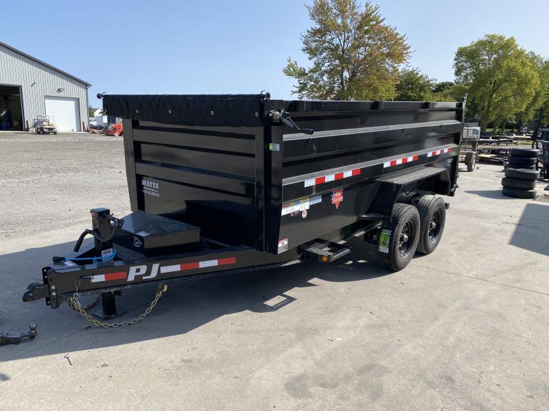2021 PJ Trailers DL142 Dump Trailer - 83x14 TA Low Pro Dump - Split/Spread Gate - Oil Bath Axles - Tarp Kit - Ramps (GVW:  16000)