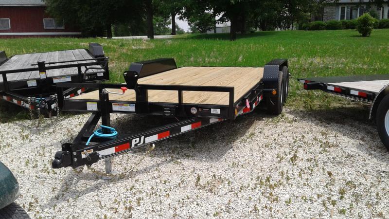 """2020 83x16 (14+2) TA Equipment PJ Trailers 16'x5"""" Channel Equipment Trailer - Rear Slide In Ramps (GVW:  9899)"""