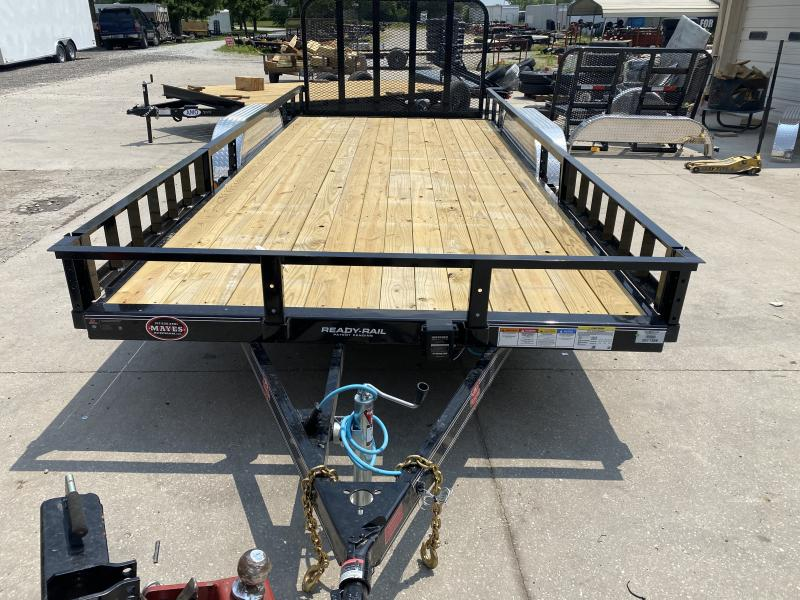 2021 83x18(16+2' Dovetail) PJ Trailers UL Tndm Axle Channel Utility Trailer - w/ 4' Fold-up Gate (GVW: 9899)(ATV Ramps)