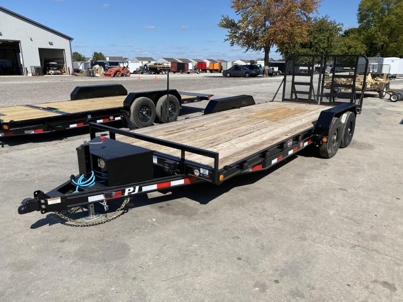 "2021 83x20(18+2' Dovetail) PJ Trailers CE 5"" Channel Equipment Trailer - w/ Split HD Gate (GVW: 9800)(Front Toolbox)"