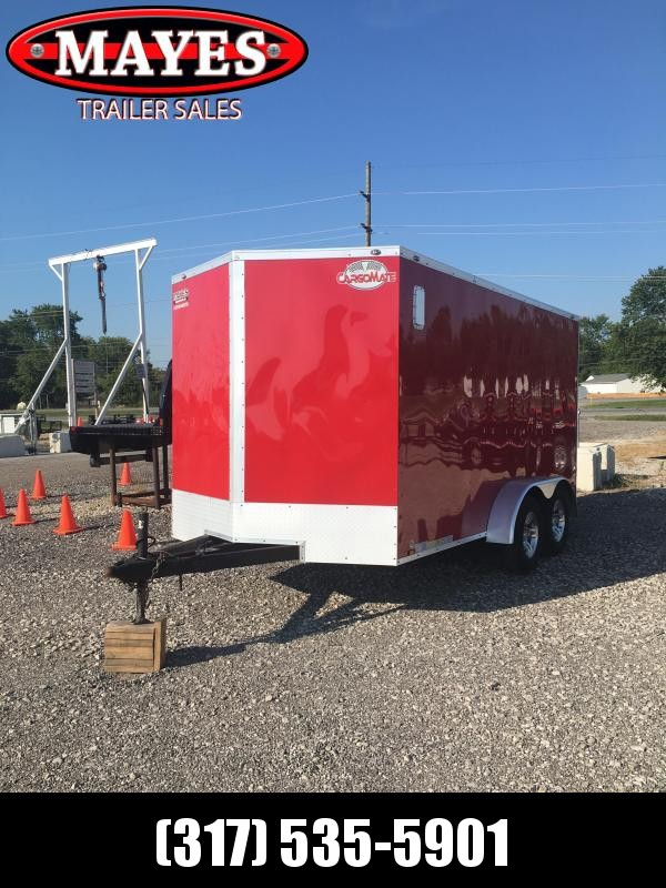 Used 2019 Cargo Mate EHW714TA2 Enclosed Cargo Trailer  - 7x14 TA - Ramp Door - Torsion Axles - Aluminum Wheels (GVW:  7000)