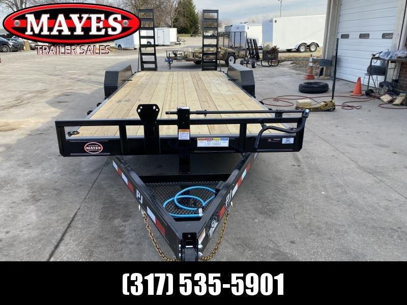 2021 PJ Trailers CC202 Equipment Trailer - 83x20 (18+2) TA - Dovetail - Fold Up Ramps - Treated Wood Floor (GVW:  14000)