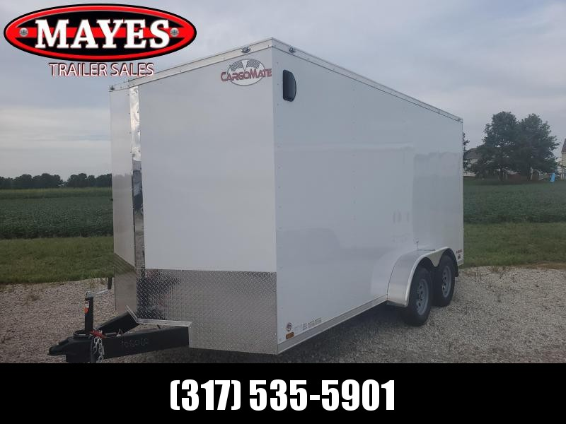 2021 Cargo Mate EHW716TA2 Enclosed Cargo Trailer - 7x16 TA - Ramp Door - Side by Side Package - 12 Inch Additional Height - D-Rings - Slant V-Nose (GVW:  7000)
