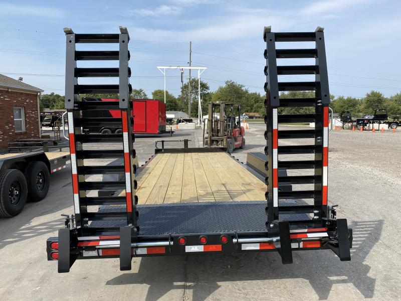 2021 B-B CBCT2014E-S Equipment Trailer - 83x20 (18+2) TA - Dovetail - D-Rings - Pallet Fork Holder - Treated Wood Floor - Spring Assist Flip Up Ramps (GVW:  14000)