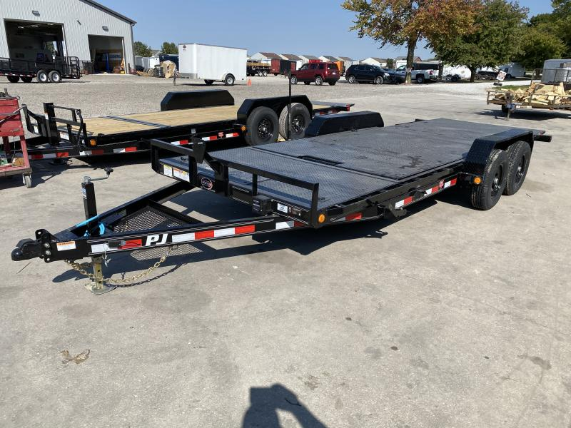 2021 PJ Trailers T5202 Equipment Trailer - 83x20 (4+16) TA - Steel Floor - Plate for Winch - Roller on Front of Deck for Winch Cable (GVW:  9899)