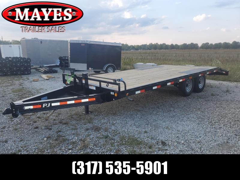 2022 PJ Trailers F8202 Flatbed Trailer 102x20 Deckover TA W/ Stand up Ramps