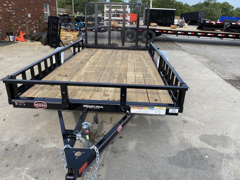 2021 77x12 PJ Trailers U7 Single Axle Channel Utility Trailer - w/ 4' Fold-in Gate (GVW: 2995)(ATV Ramps)