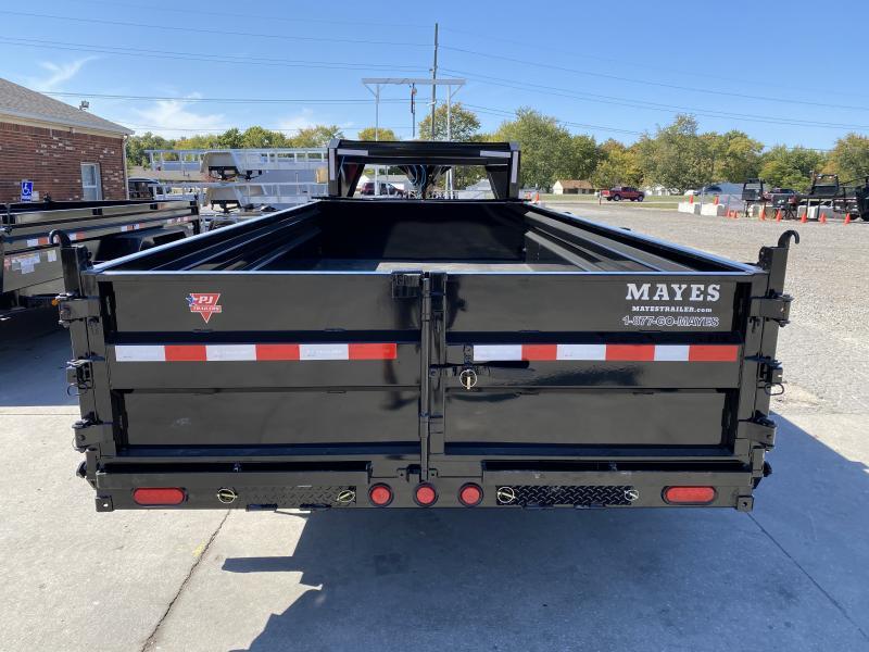2021 PJ Trailers DL162 Dump Trailer - 83x16 TA Low Pro Gooseneck Dump - Split/Spread Gate - Tarp Kit - Spring Suspension (GVW:  14000)